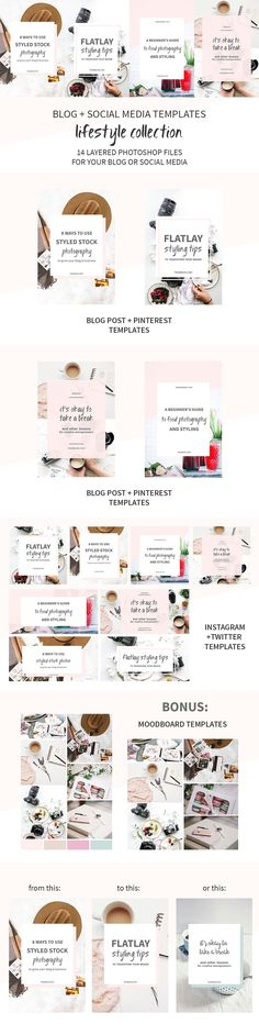Create beautiful pinnable images for your blog or shareable social media images with these Blog + Social Media Image Templates by Elan Creative Co. on @creativemarket