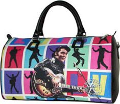 Fun and colorful duffle that features Elvis Presley playing guitar.Has top handles and a top zip main compartment.Officially licensed Elvis Presley Products EPE. U.S. Pat. & TM. Officially manufactured and distributed by Aliz International, Inc