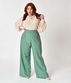 931fa8752a44f Unique Vintage Plus Size 1940s Style Sage Green High Waist Sailor Ginger  Pants