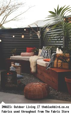 Follow Us // Instagram / Pinterest / Twitter The amazingly talented Gem of theblackbird.co.nz visited us recently, to pick out fabrics for her outdoor fire pit living area!We are absolutely in LOVE with the results, and Gem has been kind enough to let us share the fabrics she has used. Details below, to recreate this luxurious Moroccan inspired look in your own homes XX FABRIC: Fabric details & availability. 1/ Natural LinenAvailability - All Stores Worldwide2/ Orange & Natural Linen...