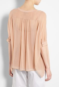 Tan Double Layer Poncho Blouse by DKNY