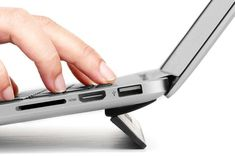 Kickflip is a reusable stick-on lift that elevates laptops at an ergonomic angle