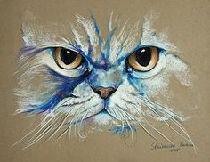 Magic PERSIAN CAT pastel,feline,cats**ORIGINAL CAT Painting 10
