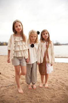 Cute little girls -- cream, ruffles, summer/spring