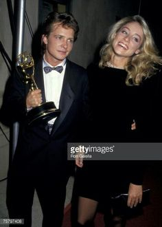 Michael J. Fox & wife Tracy Pollan. They met on the set of Family Ties & have been married ever since.