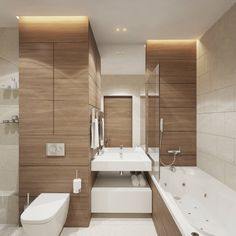 Contemporary Bathroom Designs, Bathroom Design Small, Bathroom Interior Design, Wooden Bathroom, Minimalist Interior, Interior Architecture, Toilet, Bathtub, House