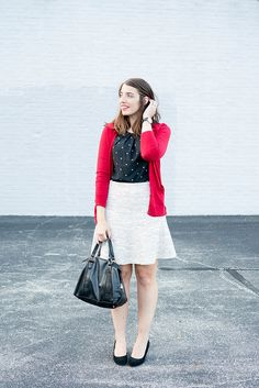 red cardigan + black and white patterned shell + Loft tweed skirt + black suede…
