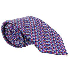 Missoni Grid Chain Link Blue Woven 100% Silk Tie