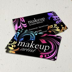 Fully customizable makeup artist business cards created by Colourful Designs Inc.