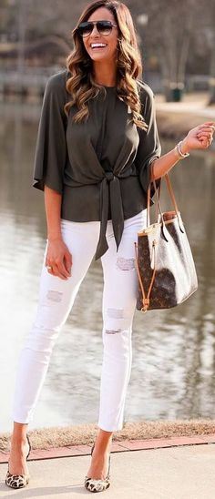 #winter #outfits grey top, white ripped jeans, panther heels