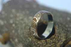 Moonkist Designs - Mokume Gane Wedding Band in Copper and Argentium Silver.