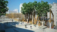 """Le Pavillon """"M"""". Lieu incontournable de l'année Capitale, porte d'entrée du territoire Marseille-Provence 2013, cette structure éphémère spectaculaire sera ouverte gratuitement au public, de 10 h à 19 h, à partir du 12 janvier et tout au long de l'année 2013."""