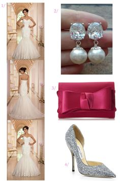 click for wedding style details // wedding dress // modern wedding day accessories with crystals and pops of pink // click for outfit details...