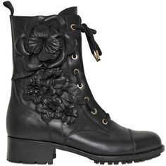 VALENTINO 30mm Calfskin Embroidered Combat Boots (117.595 RUB) ❤ liked on Polyvore featuring shoes, boots, ankle booties, footwear, botas, black, army boots, low heel boots, black booties and black boots