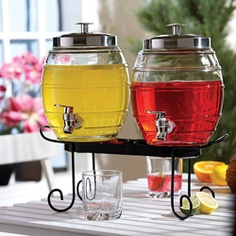Thinking this would be cute with the mason jar drinking glasses.  One with strawberry lemonade and the other with regular lemonade