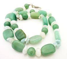 Green Aventurine Bead Necklace quartz beads - pinned by pin4etsy.com
