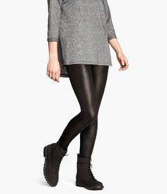 Coated leggings, black, gold, silver | H&M US
