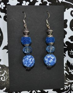 Blue Dangle Earrings  Custom Made  Sterling by InspirableCrafts