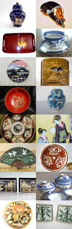 Japanese Beauties -- Pay It Forward VogueTeam. Lovely Japanese porcelain, laquer ware, boxes, fans, and other beautiful pieces from the shops of vintage vogue! Curator: Shelli from https://www.etsy.com/shop/GracesVintageGarden