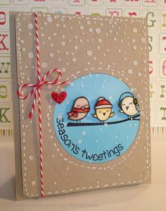 Season's Tweetings handmade card. Used Lawn Fawn WINTER SPARROWS Clear Stamps, Simon Says Stamp Stencil FALLING SNOW, Tim Holtz Distress Markers.: