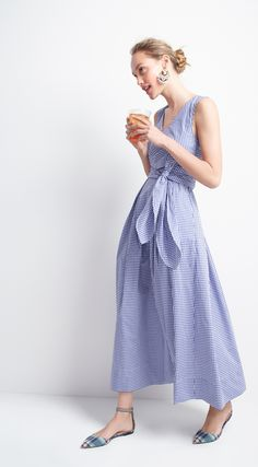 J.Crew Looks We Love: women's Collection Thomas Mason® for J.Crew gingham dress, tortoise hoop earrings and mixed plaid flats with ankle strap.