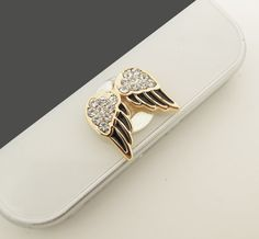 1PC Bling Crystal Angel's Wing Apple iPhone Home Button Sticker for iPhone 4,4s,4g, iPhone 5, iPad, Cell Phone Charm on Etsy, $4.99