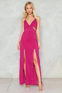 Cut-Out the Side Chick Maxi Dress