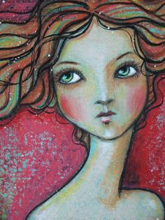 Original OOAK 4 x 6 Mixed Media acrylic colored by Pennystamper