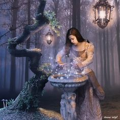 """picture of my new series """"When darkness falls, magic appears"""" with Stock used: Forest background by by by by by (not a stock picture. When darkness falls, Magic appears - 2 Fantasy World, Fantasy Art, Fantasy Witch, Fantasy Fairies, Fantasy Images, Medieval Fantasy, Pagan Art, Darkness Falls, Believe In Magic"""