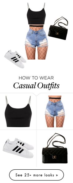 """Casual day out"" by fashionbytoph on Polyvore featuring WithChic, Alexander Wang, adidas and Chanel"