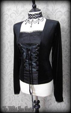 Gothic Romantic Black Velvet Cobweb Lace Corset Style Top L 14 Victorian Vamp | THE WILTED ROSE GARDEN