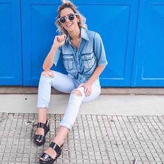 Dupla perfeita: Flatform + Jeans ✨🔝💙 #amo #flatform #queropramim #desejo #style #musthave #fashion #summer #girl #schutz #adoro #conforto #moda #loucasporsapatos #shoes #top #inlove #viaflorencebh