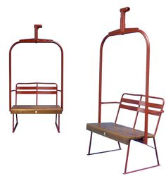 Ski Lift Chair - Bench - Newly made with a wooden seat for the authentic touch.
