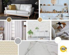Planche inspiration pour salon, salle à manger et cuisine. Coloris : blanc, gris, teintes naturelles et une touche de doré. Deco, Mood Boards, Design, Gray, Diner Kitchen, Floor, Living Room, White People, Deko