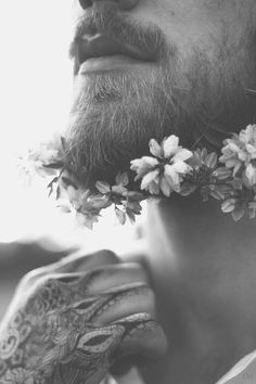 Black and White, Grayscale and Sepia Moustache, Beard No Mustache, Fotografie Portraits, Sublime Creature, Flower Beard, Beard Tattoo, Flower Quotes, How To Pose, Fine Art Photography