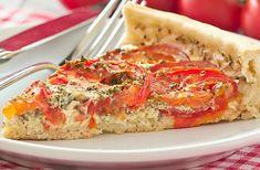 Tarte-Légère-aux-Tomatoes-and-Mozzarella-WW - Modern Healthy Pasta Recipes, Healthy Pastas, Wrap Recipes, Salmon Recipes, Tomate Mozzarella, Breakfast Pastries, Quiche Recipes, Cata, Salmon Burgers