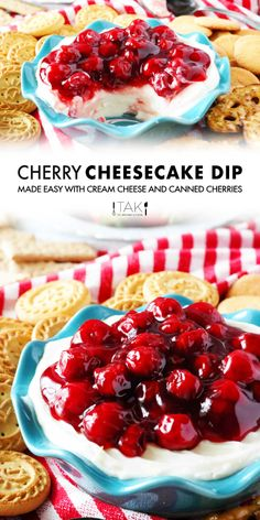 Easy, no bake Cherry Cheesecake Dip made with cream cheese comes together in just 10 minutes and is the perfect appetizer for parties and holidays!  It's made simple with a cream cheese base and a canned cherry pie filling. Discover a quick hack for sprucing up canned cherry pie filling, tricks for bringing cream cheese to room temperaturefaster, plus, what to serve with your Cherry Cheesecake Dip!
