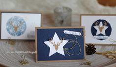 Weihnachtskarten Hirsch Sterne Marineblau Stampin Up