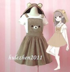Kawaii rilakkuma jumpsuit dress bear #embroidery lolita #overall #skirt & hat new,  View more on the LINK: 	http://www.zeppy.io/product/gb/2/331723491456/