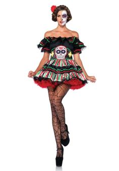 Déguisement squelette mexicaine colorée femme Dia de los muertos   Deguise- toi f3ddedd0f44