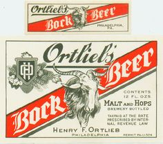 U# 12oz Ortlieb's Bock Beer Bottle Label +neck Philadelphia PA