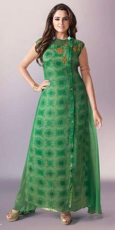 Fancy Green Georgette Kurti.