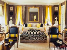 Yellow, black and taupe room