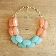 Turquoise and Peach Coral Colorblock Double Strand Statement Necklace - Bib Necklace. $42.00, via Etsy.