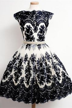 Vlack Lace Homecoming Dresses,Vintage Dresses,Pretty Dresses,Handmade Hmecoming…