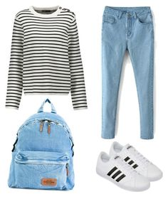 """""""Back to School Outfit"""" by rizkasdesign ❤ liked on Polyvore featuring Maje, Eastpak and adidas"""
