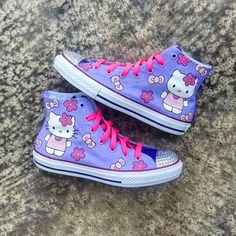 6de3093ba9e8 Items similar to Hello Kitty Custom Converse on Etsy