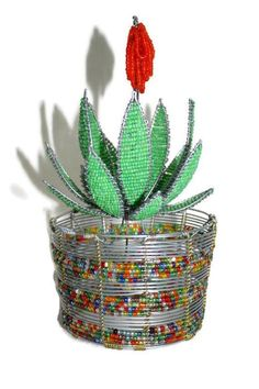 Beaded Aloe Vera plant on a Colourful beads and wire handmade African vase. Vase can be customized Handcrafted Christmas Ornaments, Christmas Crafts For Gifts, Handmade Christmas, Handmade Art, Handmade Gifts, Etsy Handmade, French Beaded Flowers, Beads And Wire, Aloe Vera
