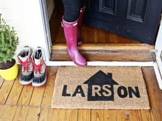 Create this personalized entry mat from A Beautiful Mess, and none of your guests will ever second-guest whether they're standing in front of the correct house again— all of the information they need is at their toes! This article originally appeared on HouseBeautiful.com.   - CountryLiving.com