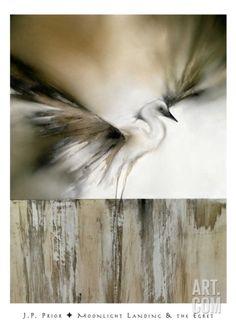 Moonlight Landing & the Egret Art Print by J.P. Prior at Art.co.uk